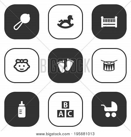 Set Of 9 Child Icons Set.Collection Of Pram, Equine, Abc Block And Other Elements.
