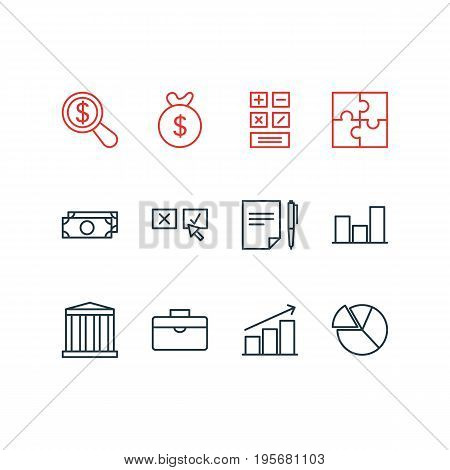 Vector Illustration Of 12 Business Icons. Editable Pack Of Agreement, Riddle, Columns And Other Elements.