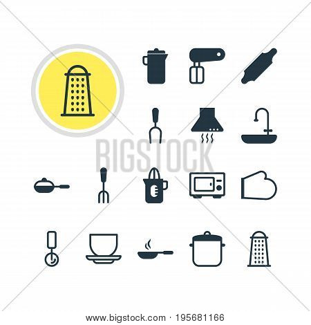 Vector Illustration Of 16 Cooking Icons. Editable Pack Of Frying Pan, Oven, Fork And Other Elements.