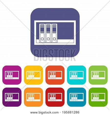 Office folders on the shelf icons set vector illustration in flat style In colors red, blue, green and other