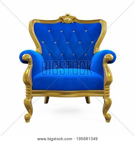 Blue Throne Chair isolated on white background. 3D render