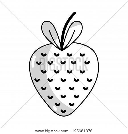 line delicious strawberry fruit with vitamins and protein vector illustration