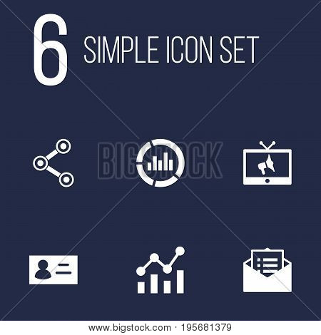 Set Of 6 Advertising Icons Set.Collection Of Id, Statistics, Message And Other Elements.