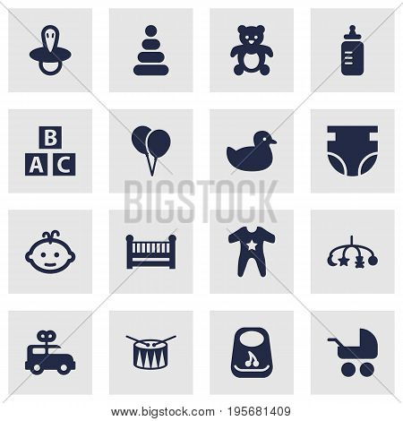 Set Of 16 Kid Icons Set.Collection Of Milk, Duck, Nappy And Other Elements.