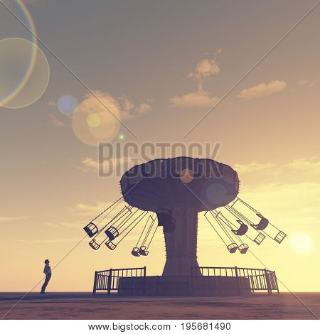 Man looks to a carousel that spins at sunset. This is a 3d render illustration