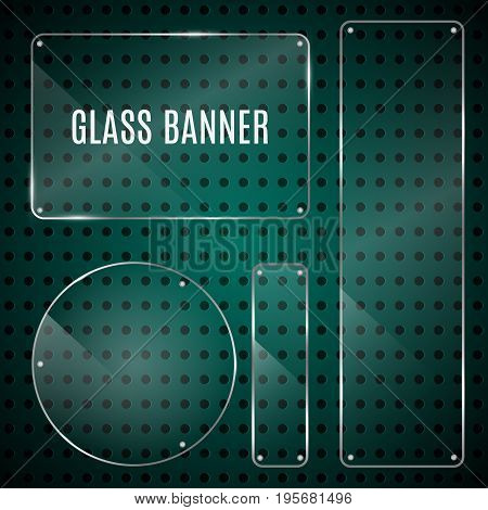 Set of glossy shiny glass banner panels on metal dotted green background. Glossy blank transparent plates for your design.Technology concept. Vector illustration.
