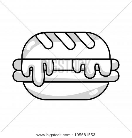 line delicious hamburger unhealthy fast food vector illustration