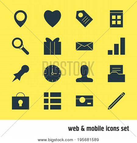 Vector Illustration Of 16 Web Icons. Editable Pack Of Clock, Love, Pen And Other Elements.