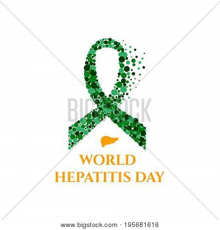 Hepatitis awareness poster with green jade ribbon made of dots on light background. Medical concept. Vector illustration.