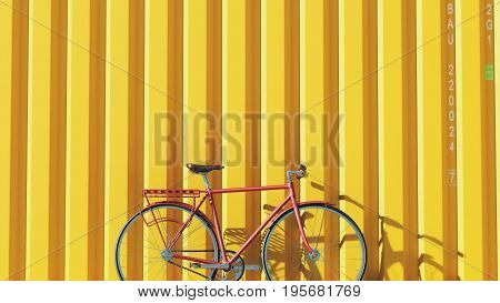 An old bicycle leaning against a yellow container. This is a 3d render illustration