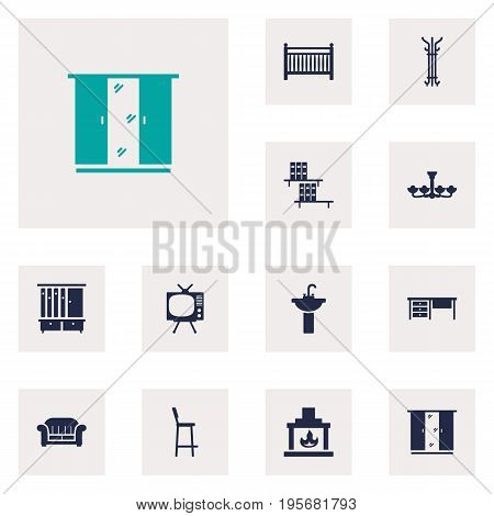 Set Of 12 Decor Icons Set.Collection Of Bookcase, Chimney, Cot And Other Elements.