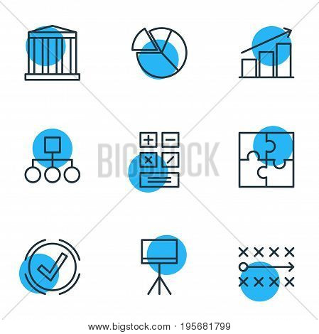 Vector Illustration Of 9 Trade Icons. Editable Pack Of Building, Solution, Calculate And Other Elements.