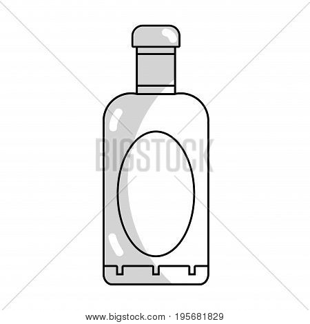 line wine bottle liquor to special celebration vector illustration