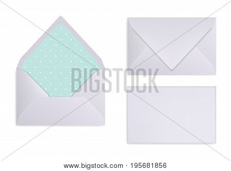 Mock-up of light grey white or silver envelope. Front view closed and opened back side. Triangle flip textured paper inside. 3D realsitic vector illustration.
