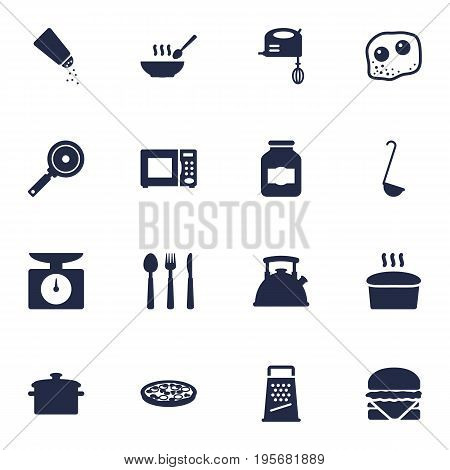 Set Of 16 Kitchen Icons Set.Collection Of Scoop, Blender, Kitchen Rasp And Other Elements.