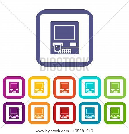 ATM bank cash machine icons set vector illustration in flat style In colors red, blue, green and other