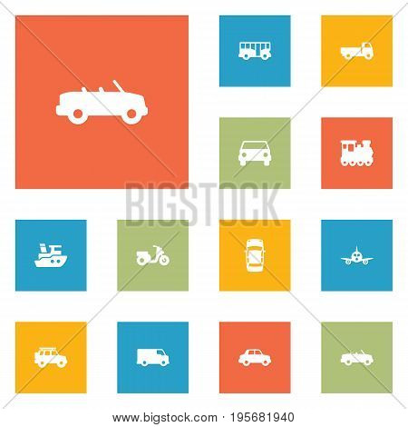 Set Of 12 Transport Icons Set.Collection Of Hatchback, Autobus, Caravan And Other Elements.