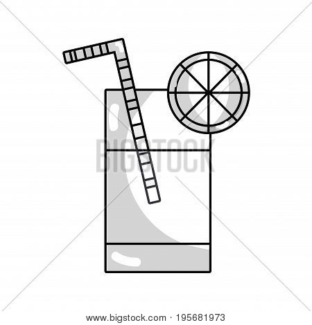 line refreshment in the bottle glass to drink vectorillustration