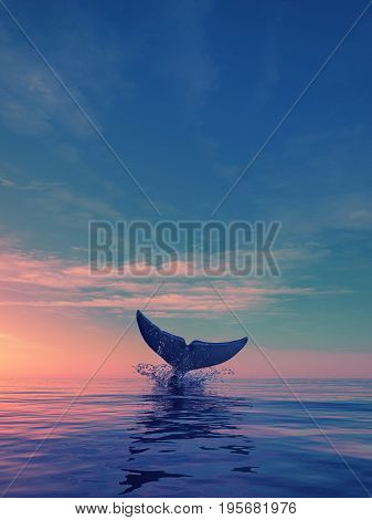 A whale dives at sunset. This is a 3d render illustration