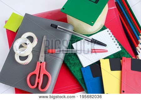 Group of office and school stationery. Isolated on white background.