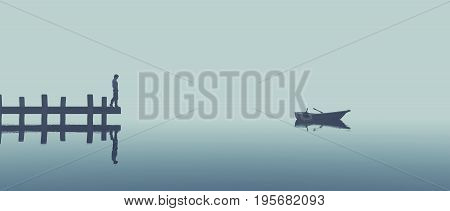 Man standing on a dock and looks at a boat on the lake in fog. This is a 3d render illustration