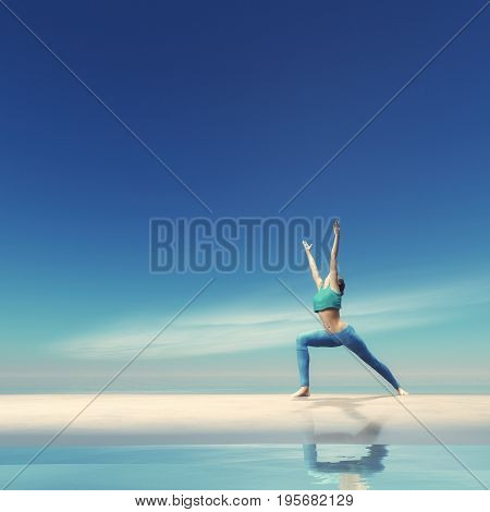 The young woman practicing yoga on the waterfront This is a 3d render illustration