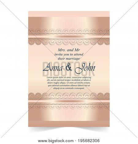 Wedding card Invitation card with ornamental on rose quartz color background