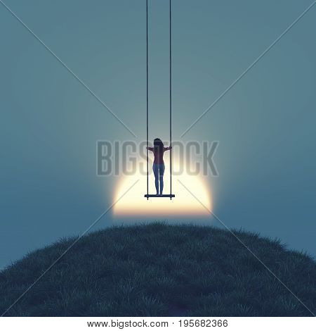 Girl stands up on a swing to the sky at sunset. This a is 3d render illustration