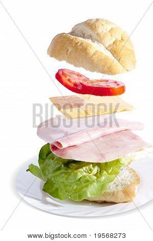 Fresh Ham Sandwich On White Background