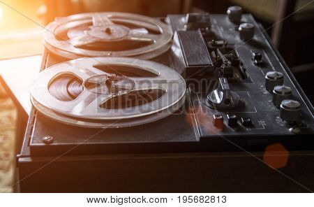The old tape recorder vintage tape recorder