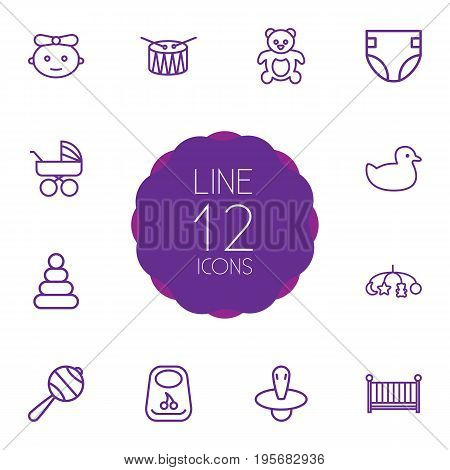 Set Of 12 Kid Outline Icons Set.Collection Of Nipple, Crib, Toys And Other Elements.