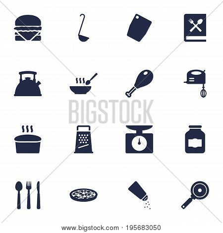 Set Of 16 Culinary Icons Set.Collection Of Silverware, Blender, Broth And Other Elements.