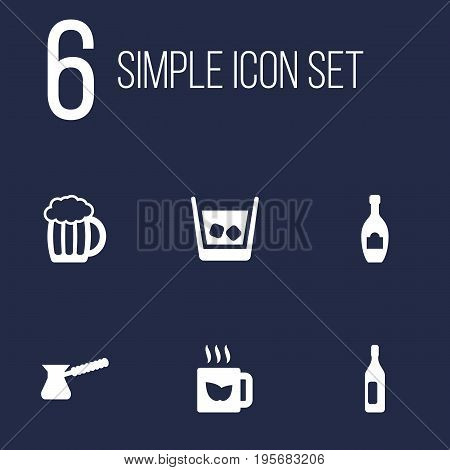 Set Of 6 Beverages Icons Set.Collection Of Cognac, Green Tea, Alcohol And Other Elements.