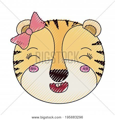 color crayon silhouette face of female tigress animal adorable expression happiness vector illustration poster