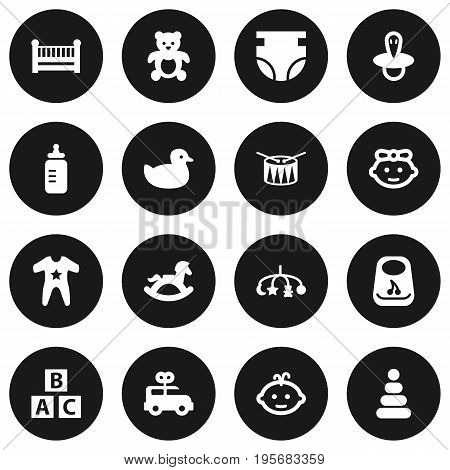 Set Of 16 Baby Icons Set.Collection Of Abc Block, Teat, Toy And Other Elements.