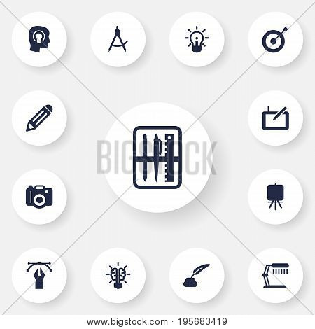Set Of 13 Creative Icons Set.Collection Of Writing , Stand , Illuminator Elements.