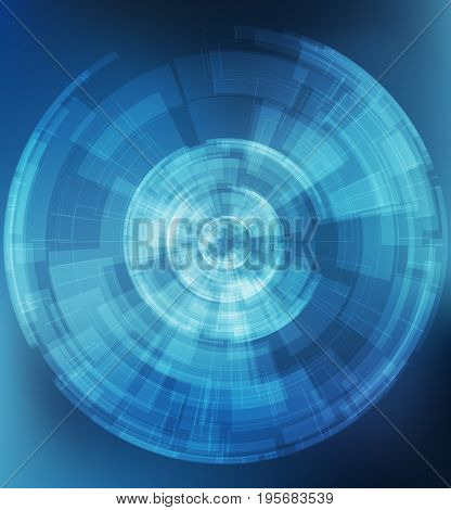 Futuristic circular shape vector background with lens flare. EPS10.