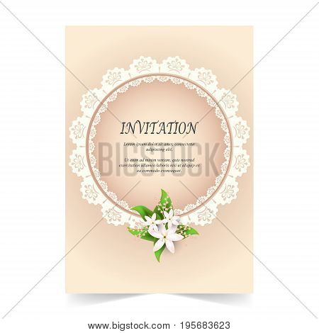 Invitation card Wedding card with ornamental and flora bouquet on rose quartz color background
