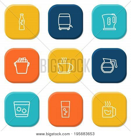 Set Of 9 Beverages Outline Icons Set.Collection Of Fizzy Water, Coffeepot, Whiskey And Other Elements.