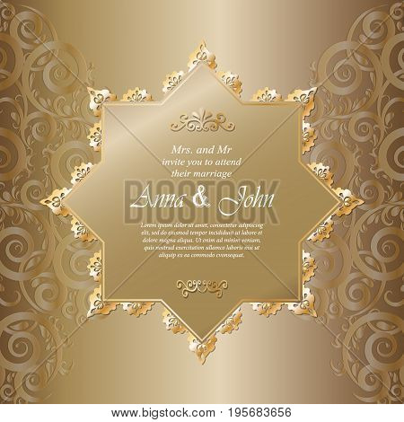 Wedding card Invitation card with ornamental on golden background