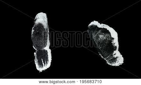 Human finger print identification biometrics ink .