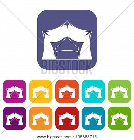 Awning tent icons set vector illustration in flat style In colors red, blue, green and other