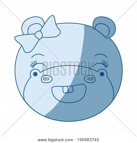 blue color shading silhouette face of female hippo animal adorable expression smiling vector illustration