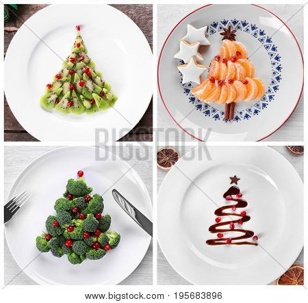 Collage of Christmas trees made of food on plates. Trendy ideas for festive dinner