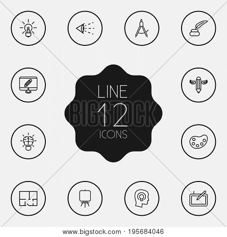 Set Of 12 Constructive Outline Icons Set.Collection Of Writing, Concept, Inkwell With Pen And Other Elements.