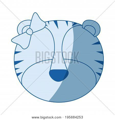 blue color shading silhouette faceless of female tigress animal with bow lace vector illustration