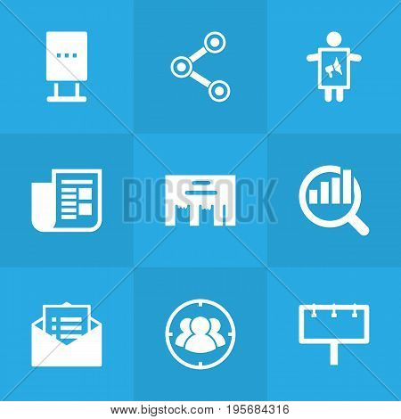 Set Of 9 Trade Icons Set.Collection Of Journal, Market, Message And Other Elements.