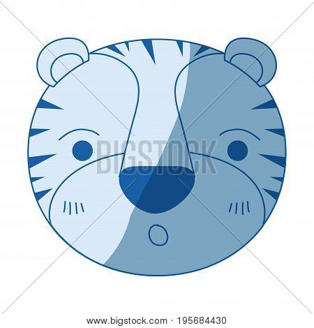 blue color shading silhouette cute face of tiger surprised expression vector illustration