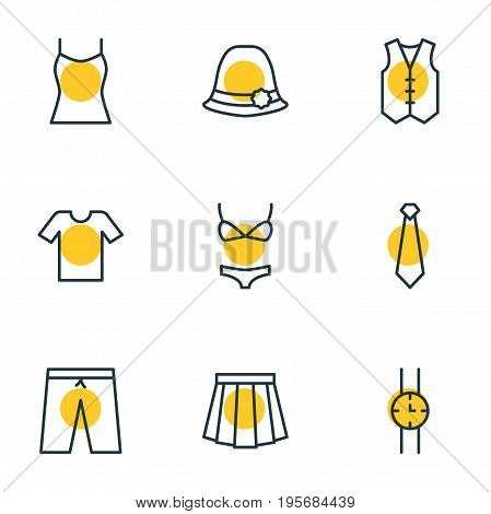 Vector Illustration Of 9 Dress Icons. Editable Pack Of Cravat, Swimsuit, Waistcoat And Other Elements.
