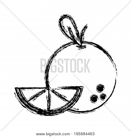 figure delicious slice orange fruit with vitamins and protein vector illustration